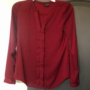 The Limited Red long sleeve button up blouse